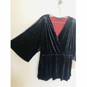 Halogen Tops - Halogen Womens Blouse Velvet Faux Wrap Size Large